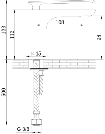 3. KOHLMAN EXPERIENCE BLACK BATERIA UMYWALKOWA QB100EB rys. tech.